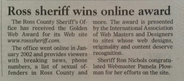 Gazette article on Pamela James, webmaster award for Ross County Sheriff's Office