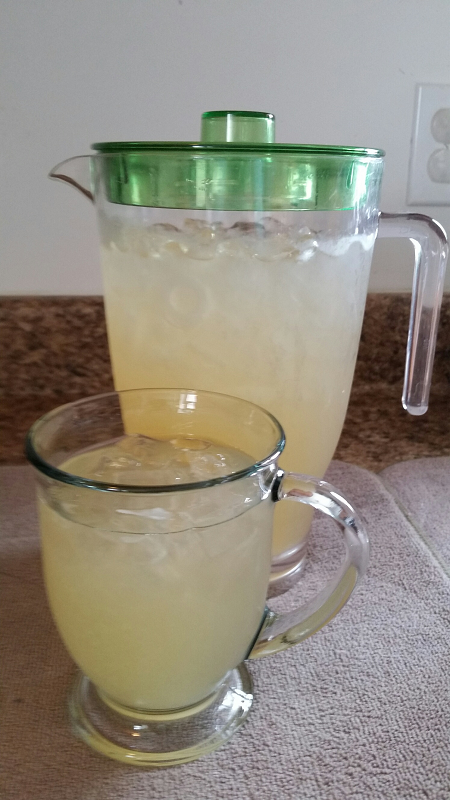 pitcher and glass of Ginger, Honey Lemonade