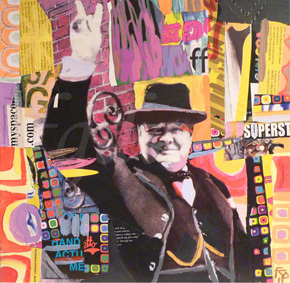 WINSTON. Paint and collage on Card.