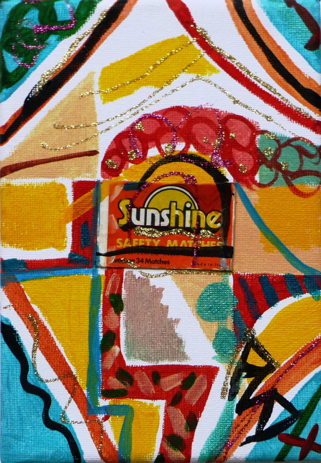 Matchbox Series 22. Sunshine Matchbox and Acrylic on Canvas. 12.7x17.7x1.5cm. 2014.