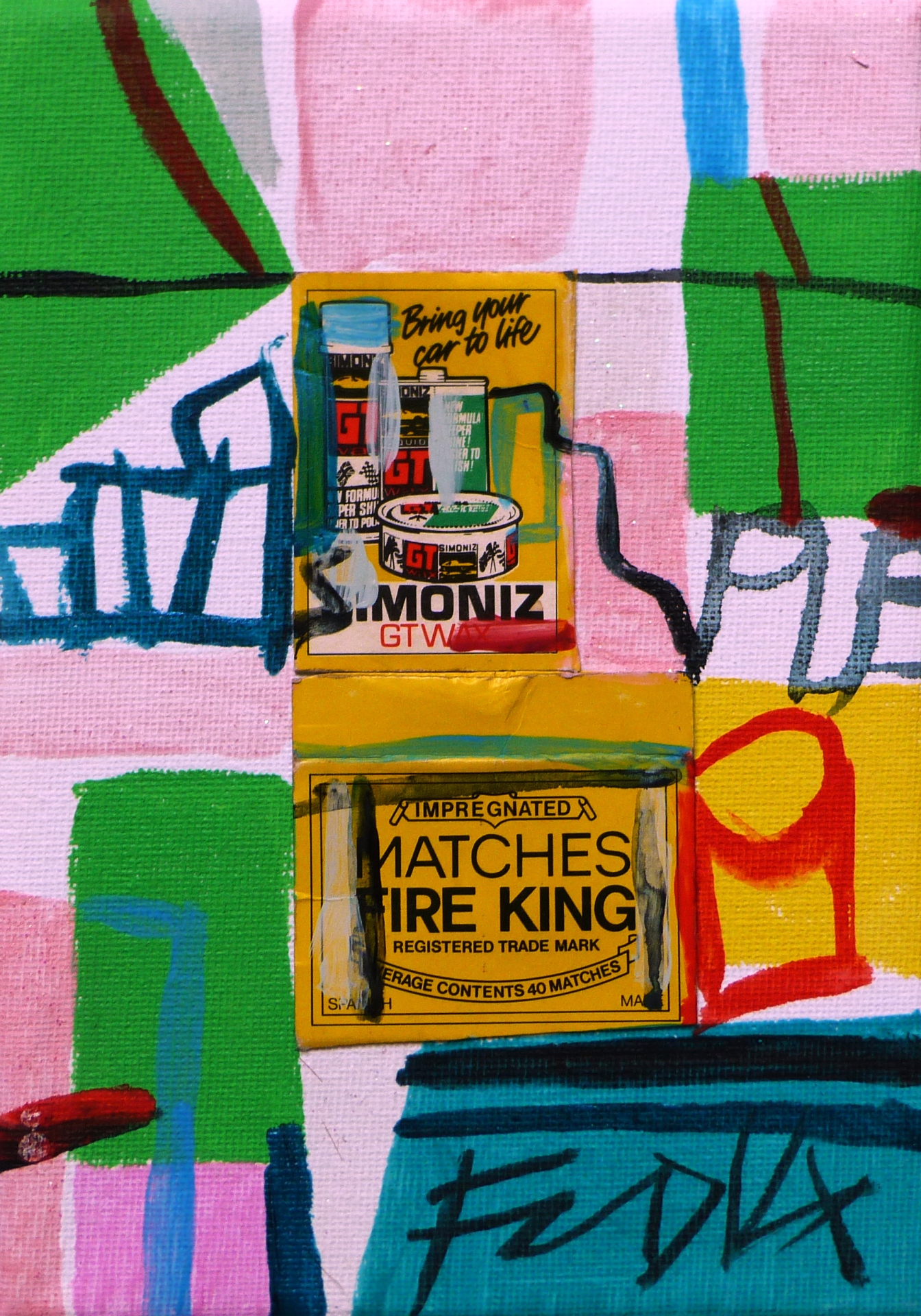 Matchbox Series 24.Fire King Matchbox and Acrylic on Canvas. 12.7x17.7x1.5cm. 2014