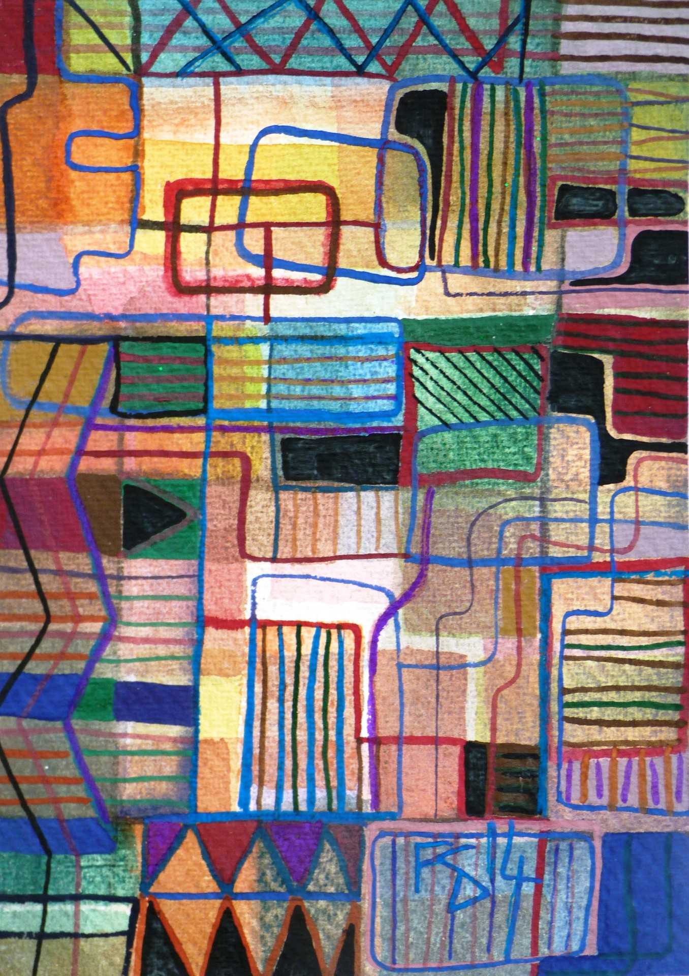 AZTEC CARPET. Watercolour and Gouache on Watercolour Paper.