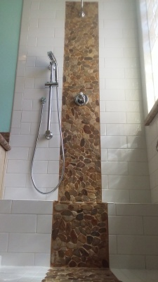 Shower Remodel with Waterfall Feature