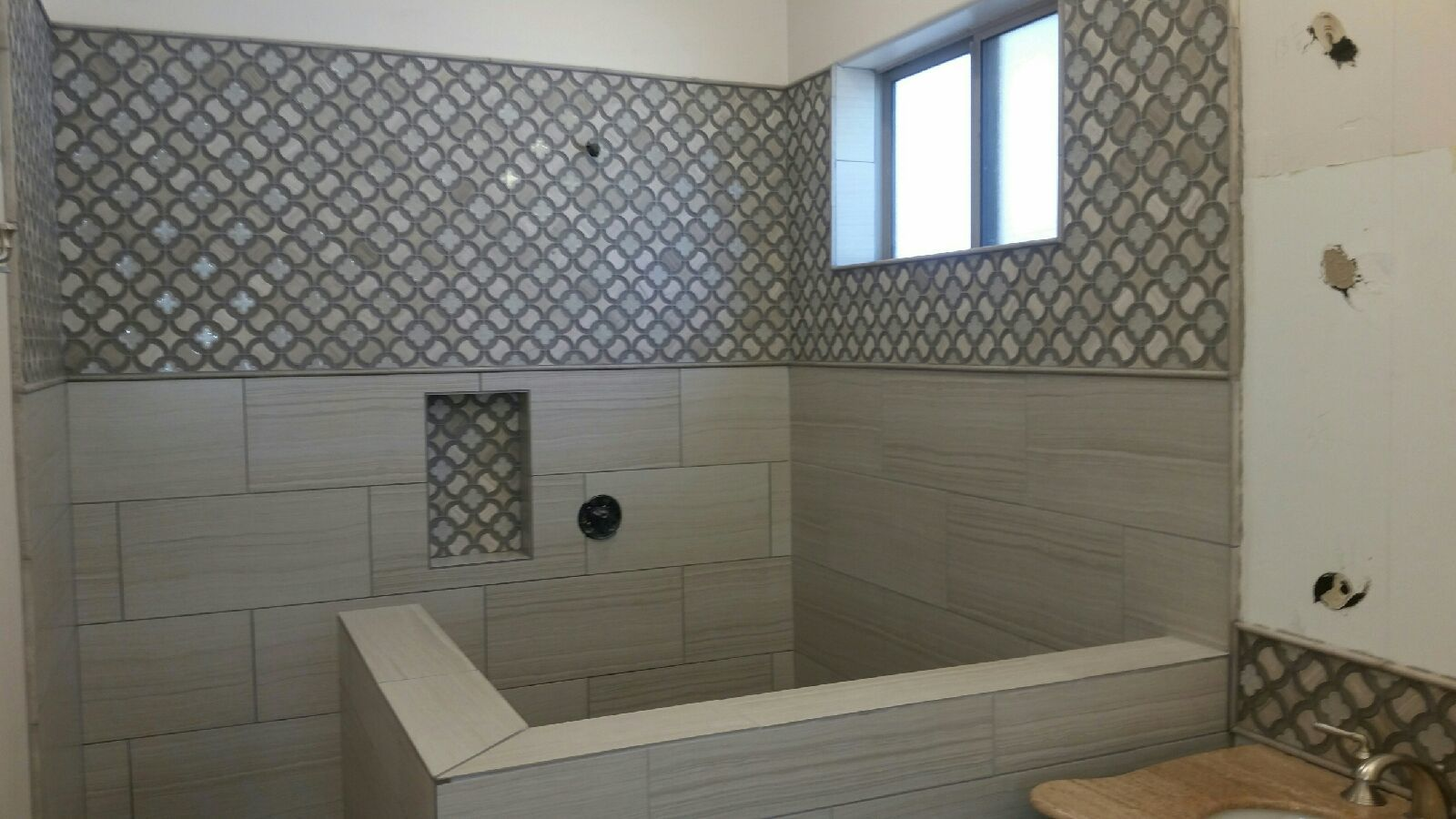 Shower Remodel- Glass Mosaic and Porcelain