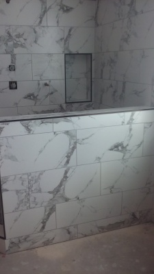 Shower Remodel- Porcelain with Schluter Trim