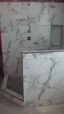 Shower Remodel- Porcelain with Schluter Trim
