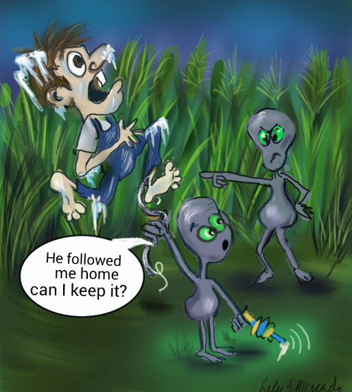 Cryptid Cartoons- Alien family