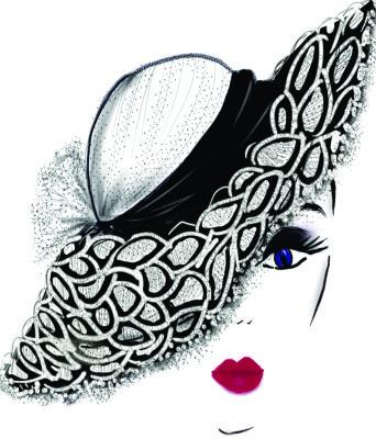 black lace hat lady