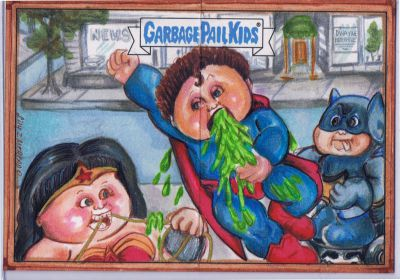 MATT MOBILE VS SUPERMANNY Garbage Pail kids  with Dental Donna- Artist Return