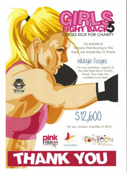 Certificate of Thanks from the 'Girls Fight Back 5' event 2014