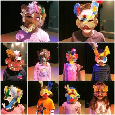 Masks made by the children.