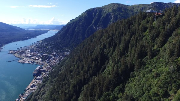 Flying up Mt. Roberts towards Juneau Tram