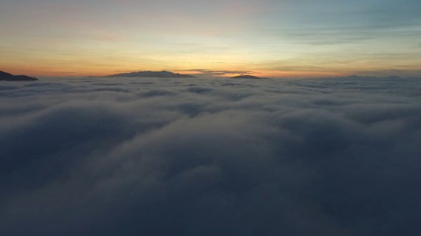 Sunset; Above the fog in the Mendenhall Valley