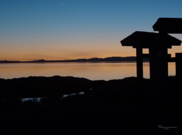 Beautiful Sunset at Great Salt Lake with amazing sky reflecting off the lake