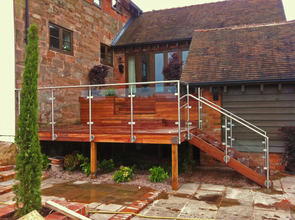 raised decking stairs platform