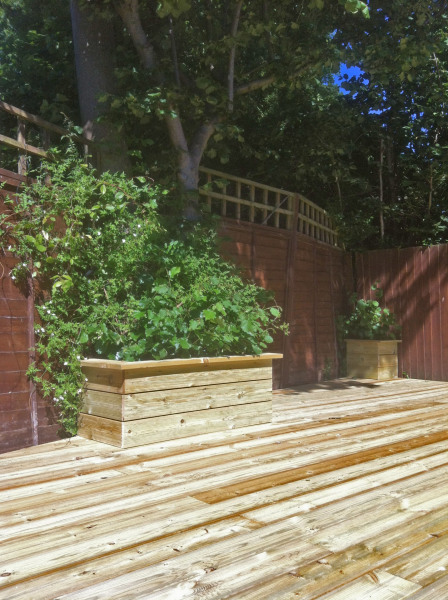 hardwood decking with planters