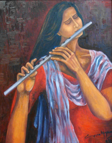 Erum-Choudhry-Lady-in-red-playing-an-instrument-of-Love-and-Peace-
