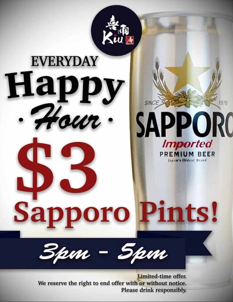 sapporo happy hour poster