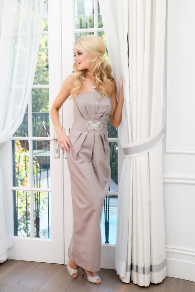 'Claudia' Silk Gown in Champagne