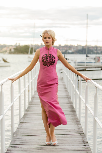 'China Rose' Silk Gown in Shot Hot Pink