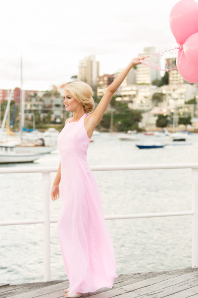 'Dream Catcher' Halter Neck Gown in Bubble Gum Pink