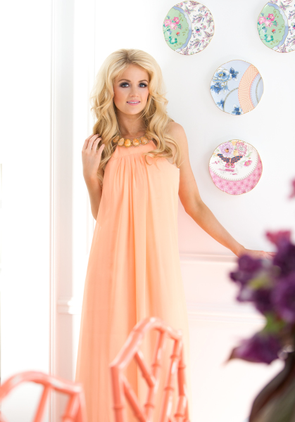 'Bewitched' Agate & Silk Halter Neck Gown in Peach