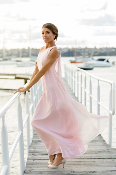 'Grecian Goddess' Silk Gown in Bubble Gum Pink