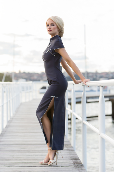 'China Doll' Silk Gown with White Knot Detail in Navy