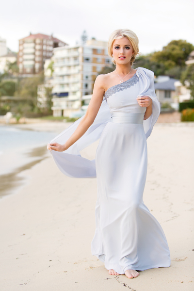 'Grace' One Shoulder Crepe Gown with Sash in Powder Blue Grey
