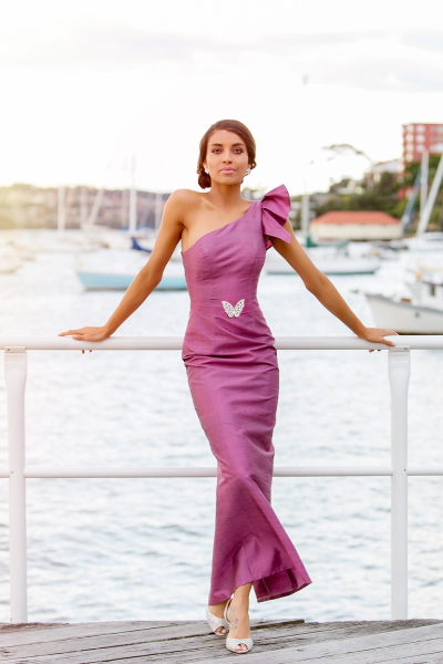 'Madam Butterfly' One Shoulder Silk Gown with Ruffle Sleeve in Plum Pink