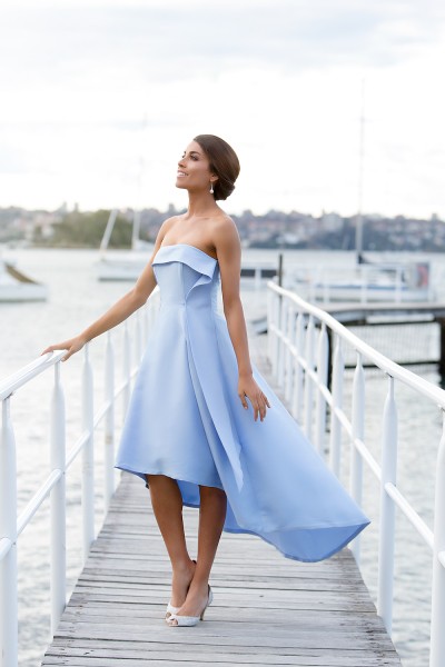 'Duchess' Duchess Satin Strapless Gown with Tulle Under Skirt in Baby Blue