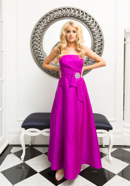 'Isabella' Silk Gown with Diamante Detail in Fuchsia