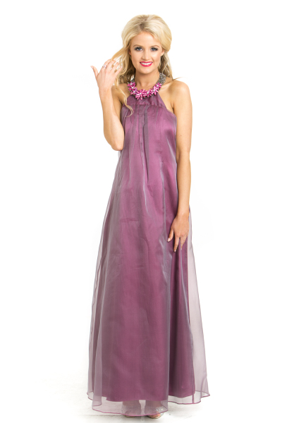 'Berry Blossom' Silk and Pearl Halter Neck Gown in Plum