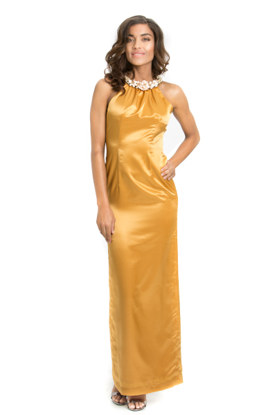 'Sixties Girl' Silk Gown With Pearl Halterneck Gold