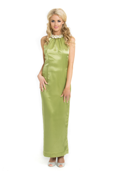 'Jade Flower' Silk Halter Neck Gown With Jade, Fresh Water Pearl and Mother of Pearl