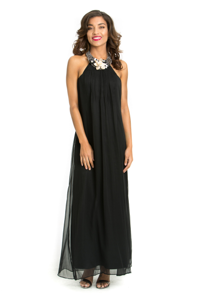 'Pearl Flower' Silk Halter Neck Gown with Fresh Water Pearl and Mother of Pearl
