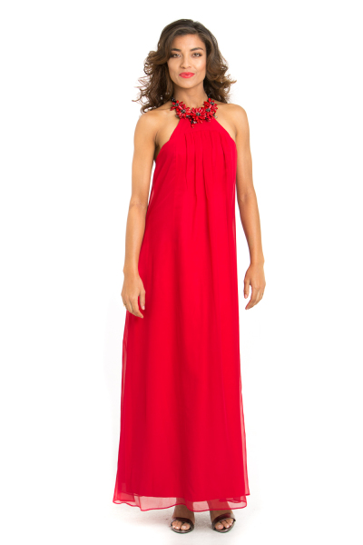 'Always a Lady' Silk Gown with Handcrafted Coral & Onyx Halter Neck in Red