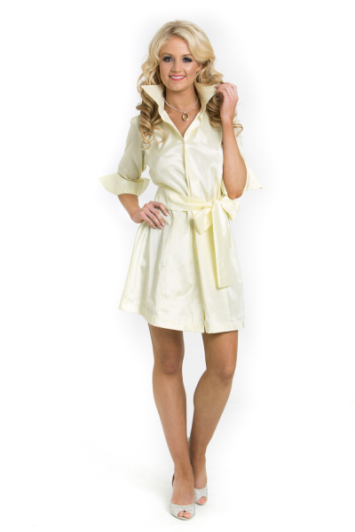 'Luxury Traveller' Silk Shirt Dress with Stunning Feature Collar and Oversized Bow In Cream