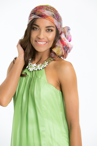 'Ivy and Pearls' Silk Halter Neck Gown with Handmade Pearl Neckline in Green