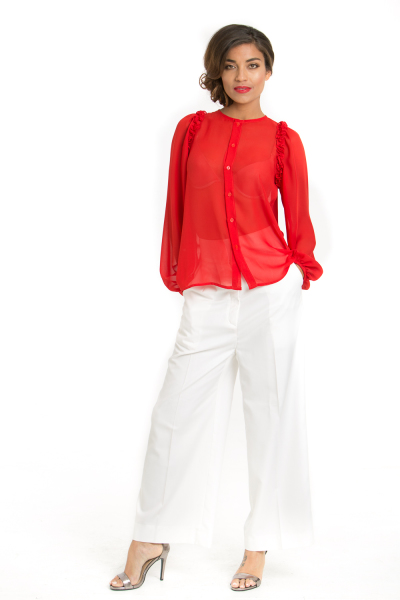 'Renaissance' Crepe Culotte Pants in White