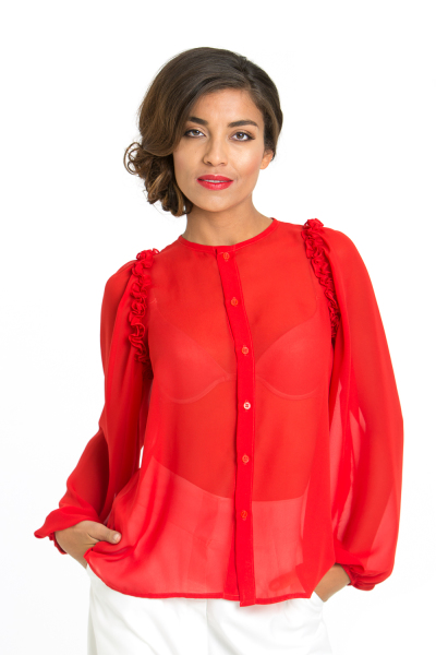 'Ruffles' Silk Ruffle Blouse in Red