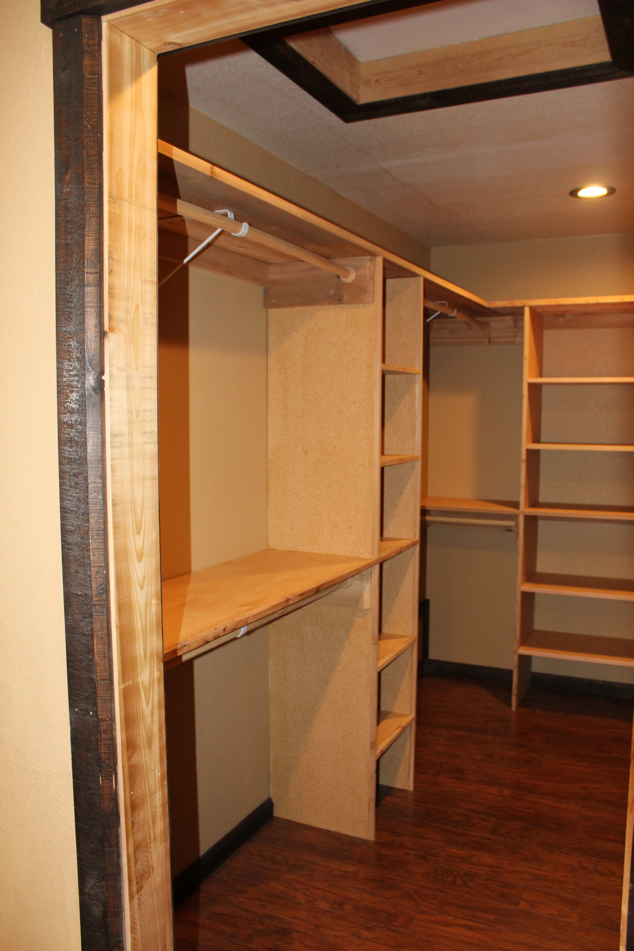 Walk-In Closet with Built-In Storage Solutions