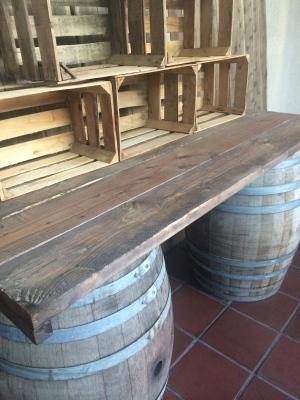 Rustic Barrel table top/crates