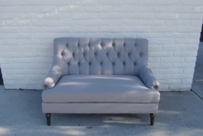 Aubrey pebble grey tufted settee