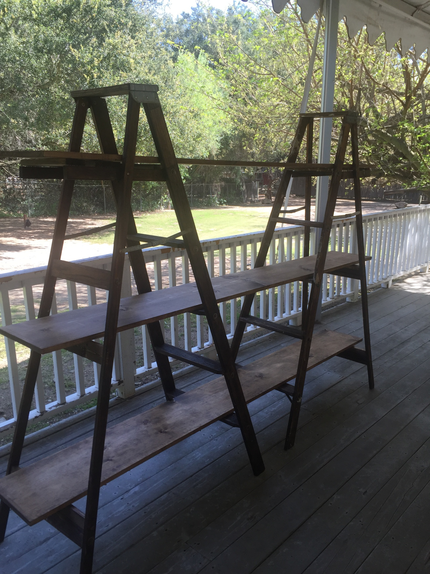 Dark Wood Ladder Display