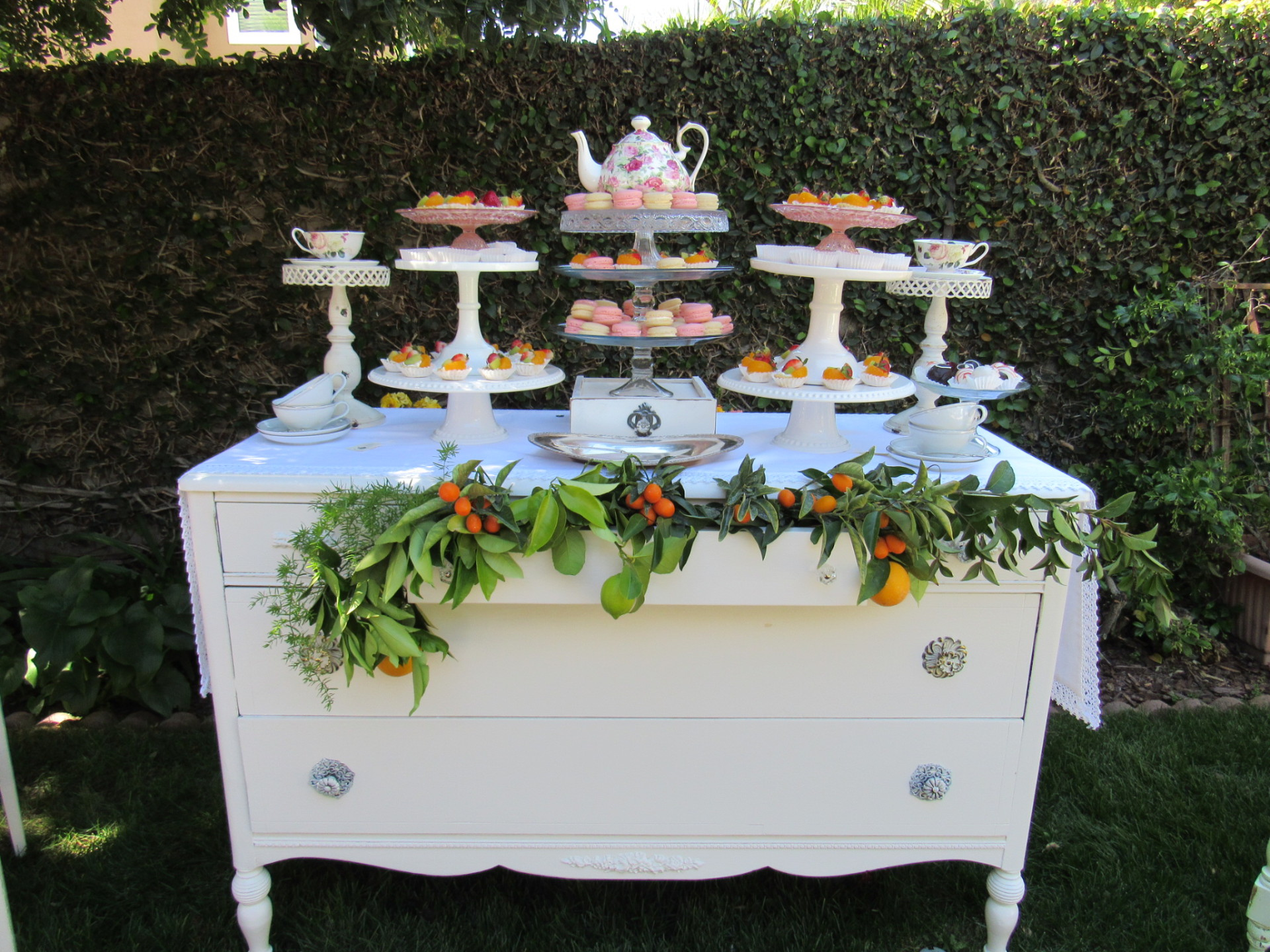 vintage buffet bridal shower