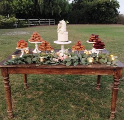 Wyatt farm table staged as dessert display