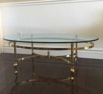Regency gold glass coffee table