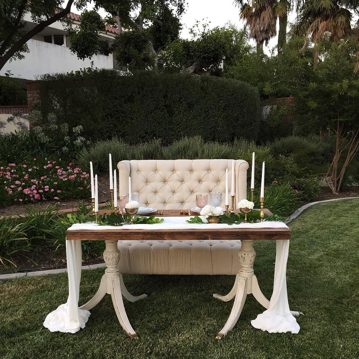 Architectural farm table romance