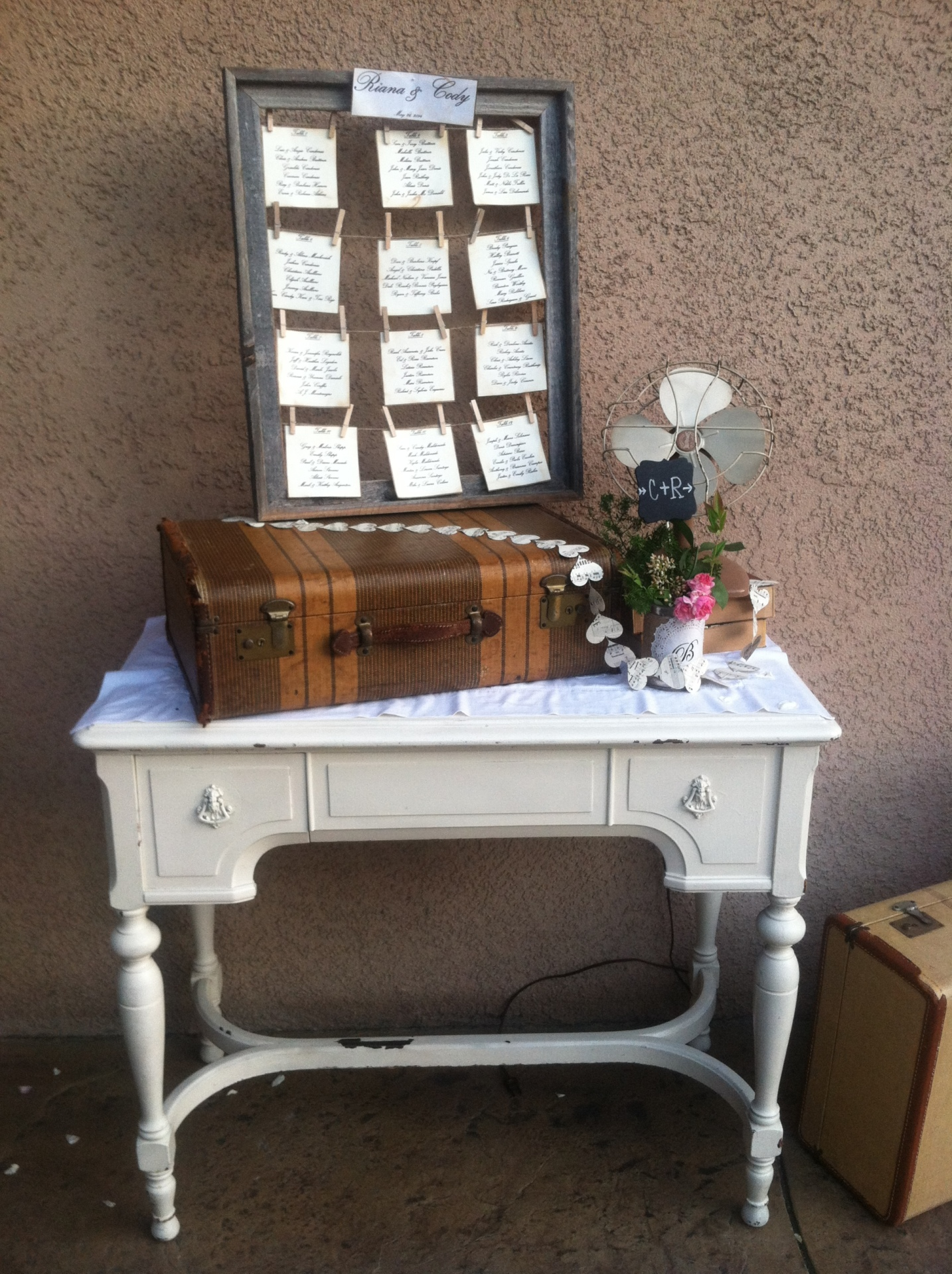 Vintage Carved Shabby Table